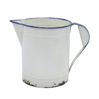 Three Hands White Distressed Metal Pitcher