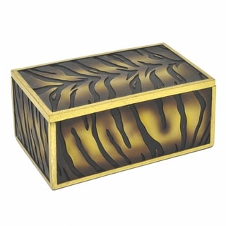 Three Hands Decorative Gold Resin Box With Tiger Print Detail