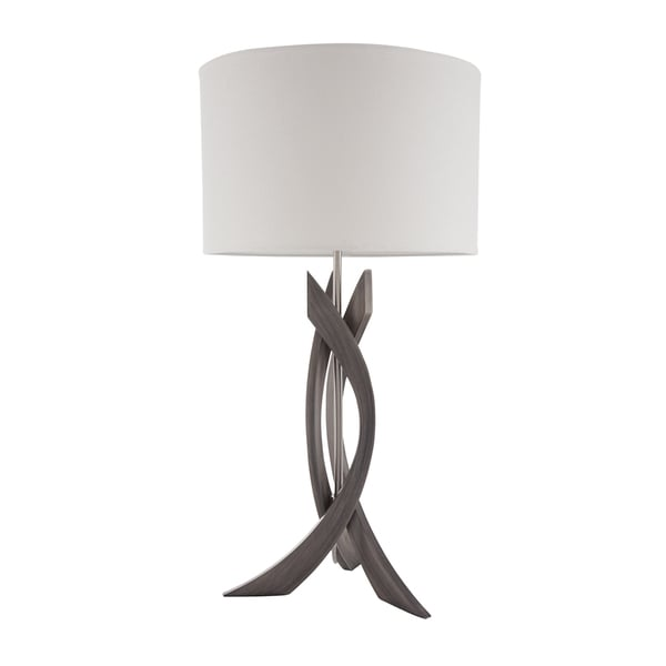 Nova Lighting Trensa Ash Grey Wood and Steel Contemporary Abstract Table Lamp