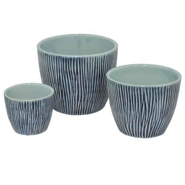 Shop Three Hands Blue Ceramic 3 Piece Planter Set Free