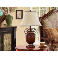 Antique Brushed Red and Light Brown Table Lamps (Set of 2)