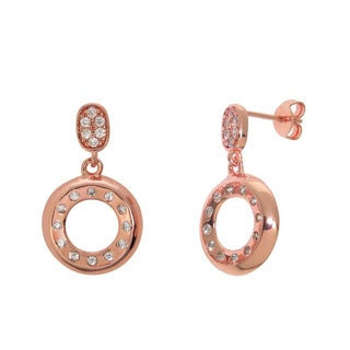 Eternally Haute 14k Rose Gold plated Pave Cubic Zirconia Circle Drop Earrings