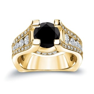 Auriya 14k Gold 3 1/4ct TDW  Round Cut Diamond Halo Engagement Ring (Black, SI1-SI2)