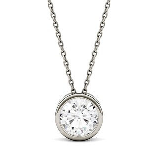 Charles & Colvard 14k White Gold 1ct DEW Round Forever One Colorless Moissanite Bezel Solitaire Pendant
