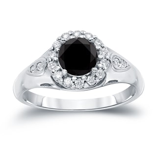 Auriya 14k Gold 1 1/4ct TDW Round Cut Halo Diamond Halo Engagement Ring (Black, SI1-SI2)