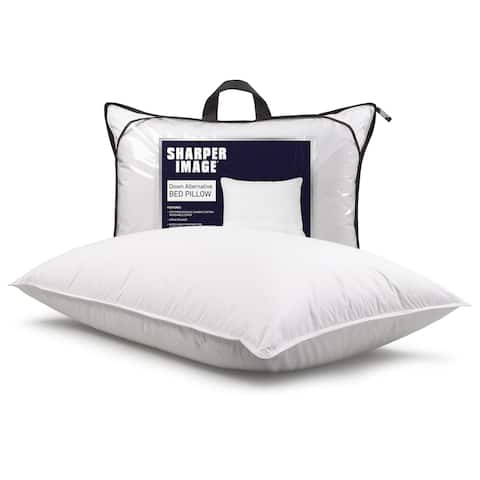 Sharper Image Antimicrobial + Stain Release Down Alternative Bed Pillow - White