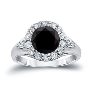 Auriya 14k Gold 3 1/3ct TDW  Round Cut Halo Diamond Halo Engagement Ring (Black, SI1-SI2)
