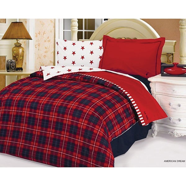 Le Vele Red Plaid Bedding Twin-Size Duvet Cover and Sheet Set