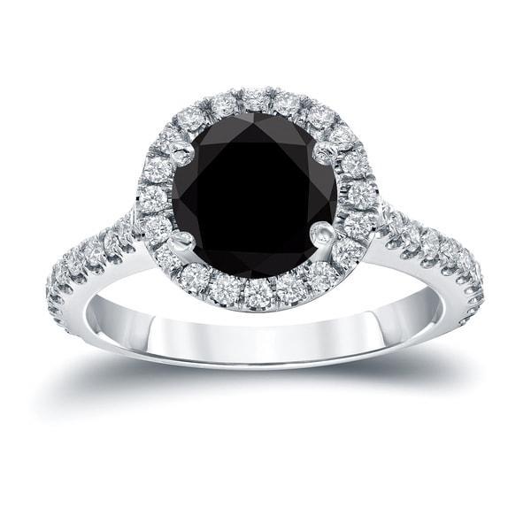 Auriya 14k Gold 2 2/5ct TDW Round Cut Diamond Halo Engagement Ring (Black, SI1-SI2)