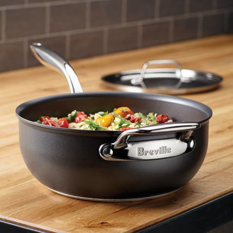 Breville Thermal Pro Grey Hard-anodized Nonstick 4-quart Covered Saucier with Helper Handle