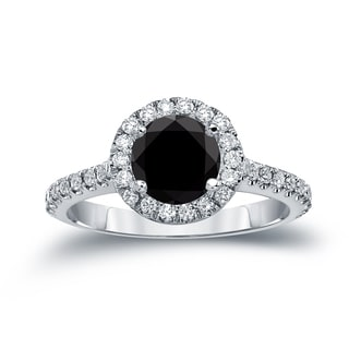 Auriya 14k Gold 1 7/8ct TDW Round Cut Diamond Halo Engagement Ring (Black, SI1-SI2)