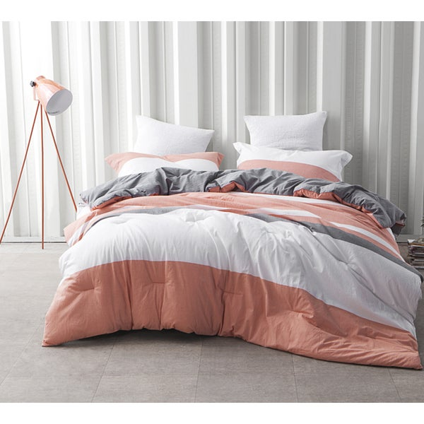 BYB Vanilla Slate Grey/ Orange Stripe Comforter (Shams Not Included)