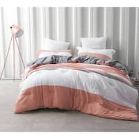BYB Vanilla Slate Grey/ Orange Stripe Comforter (Shams Not Included)