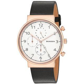 Skagen Men's SKW6371 'Ancher' Chronograph Black Leather Watch