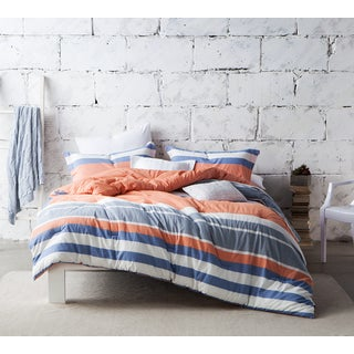 BYB Cozy Stripes Comforter (Shams Not Included) - Grey/White/Coral