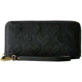 Fossil Emma Black Leather Large RFID Zip-around Wallet