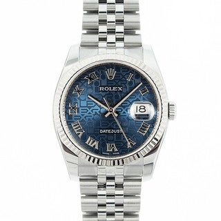 Pre-owned Rolex Mid 2000's Model 116234 Men's Datejust Stainless Steel Blue Jubilee Dial Watch