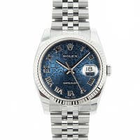 Pre-owned Rolex Mid 2000's Model 116234 Men's Datejust Stainless Steel Blue Jubilee Dial Watch