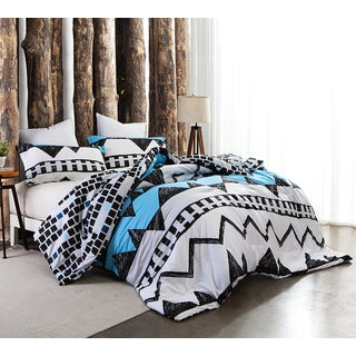 Kray Grey/ Blue Geometric Print Comforter (Shams Not Included)