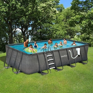 Dark Wicker Summer Waves Elite Rectangular Metal Frame Pool