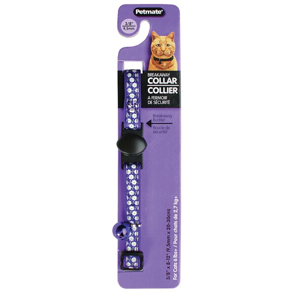 "Petmate 3/8"" X 8-1/2"" Violet & Flowers Breakaway Cat Collar"