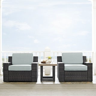 Beaufort 3 pc Outdoor Wicker Seating Set with Mist Cushion - Loveseat, Chair, Coffee Table