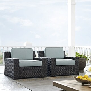 Beaufort Outdoor Wicker Seating Set with Mist Cushions (Set of 2)