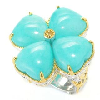Michael Valitutti Palladium Silver Heart Shaped Amazonite & Yellow Sapphire Cocktail Ring
