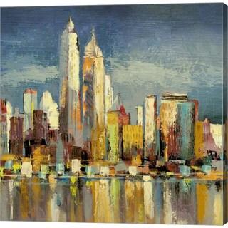 Luigi Florio 'Manhattan Aqua (detail)' Canvas Art