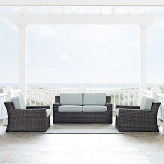 Beaufort 3 Piece Outdoor Wicker Seating Set With Mist Cushion