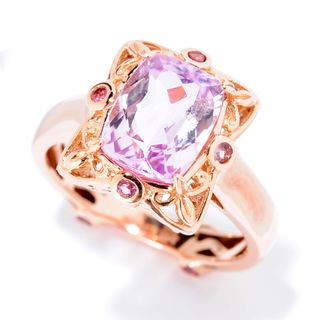 Michael Valitutti Palladium Silver 14K Rose Gold 2.77ctw Kunzite & Pink Tourmaline Ring