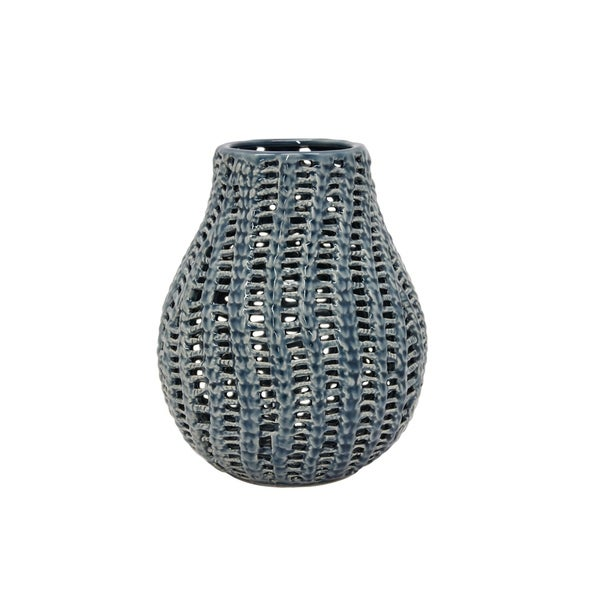 Three Hands Blue Ceramic Pierced Vase