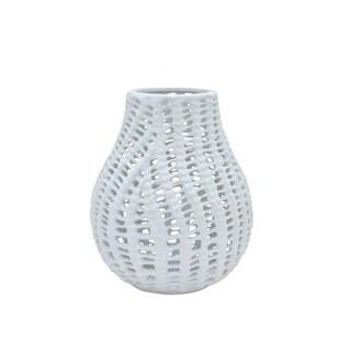 Three Hands Pierced White Ceramic Vase