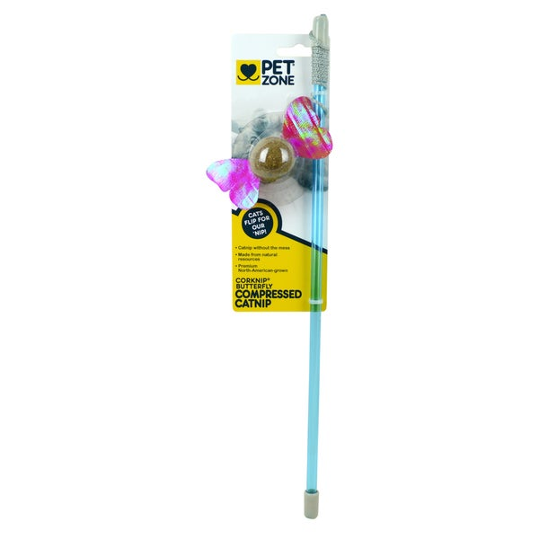 Pet Zone Corknip Butterfly Compressed Catnip Wand Cat Toy