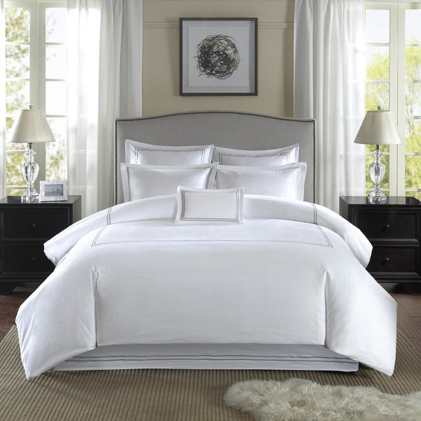 Madison Park 400 Thread Count Embroidered Cotton Sateen Bedskirt with 2 Euro Shams