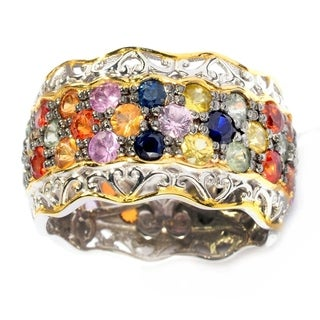 Michael Valitutti Palladium Silver Multi Sapphire Eternity Band Ring