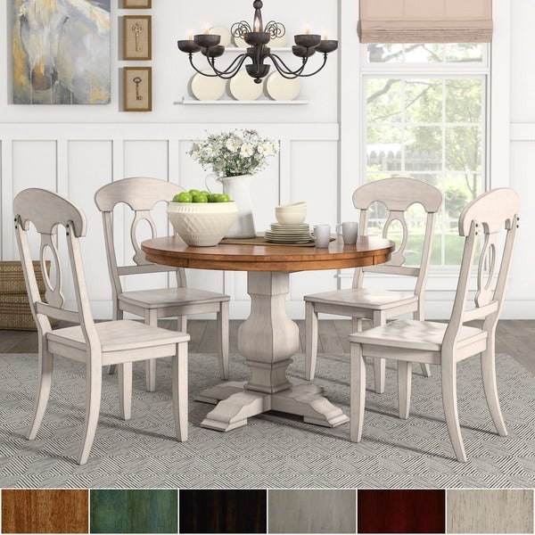 White Dining Room Set Sale: Shop Eleanor Antique White Round Solid Wood Top 5-Piece