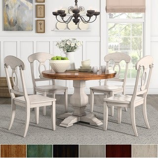Eleanor Antique White Round Solid Wood Top 5-Piece Dining Set - Napoleon Back by TRIBECCA HOME