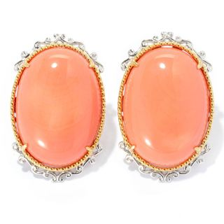 Michael Valitutti Palladium Silver Oval Salmon Bamboo Coral Button Earrings w/ Omega Backs