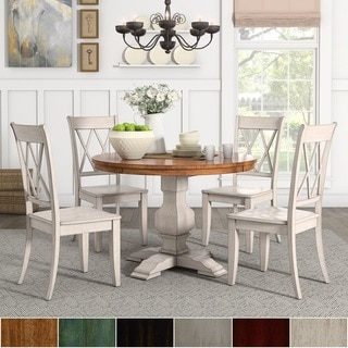 Eleanor Antique White Round Solid Wood Top 5-Piece Dining Set - X Back by iNSPIRE Q Classic