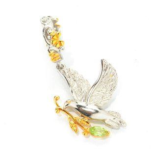 Michael Valitutti Palladium Silver Peridot Peace Dove & Olive Branch Drop Charm