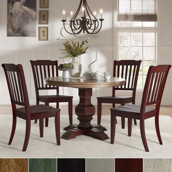 Eleanor Red Round Solid Wood Top 5-Piece Dining Set - Slat Back by iNSPIRE Q Classic