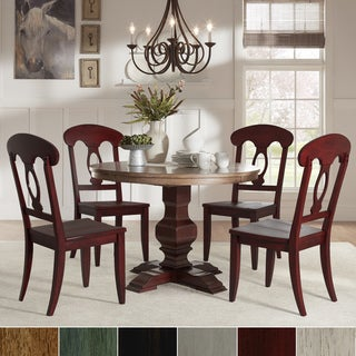 Eleanor Red Round Solid Wood Top 5-Piece Dining Set - Napoleon Back by iNSPIRE Q Classic