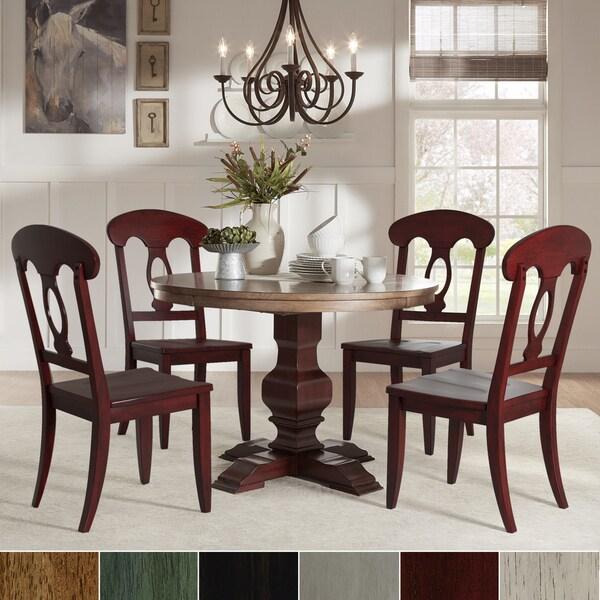 5 Piece Round Dinette Set: Shop Eleanor Red Round Solid Wood Top 5-Piece Dining Set