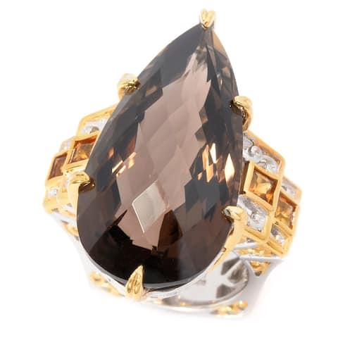 Michael Valitutti Palladium Silver Smoky Quartz & Madeira Citrine Elongated Ring