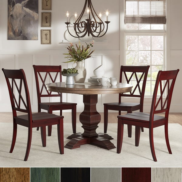 Red Dining Set: Shop Eleanor Red Round Solid Wood Top 5-Piece Dining Set