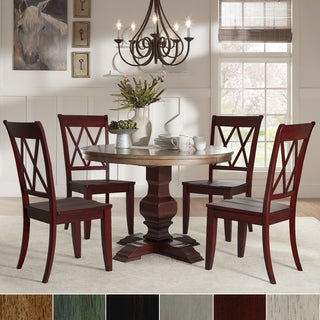 Eleanor Red Round Solid Wood Top 5-Piece Dining Set - X Back by iNSPIRE Q Classic