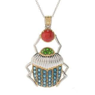 Michael Valitutti Palladium Silver Cleopatra Multi Gemstone Scarab Beetle Pendant