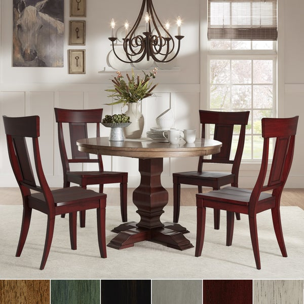 Shop Eleanor Red Round Solid Wood Top 5-Piece Dining Set