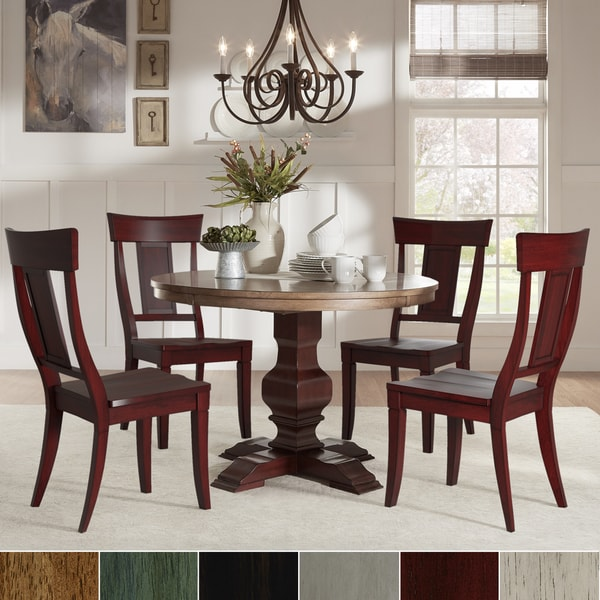 Dinette Sets For Sale: Shop Eleanor Red Round Solid Wood Top 5-Piece Dining Set
